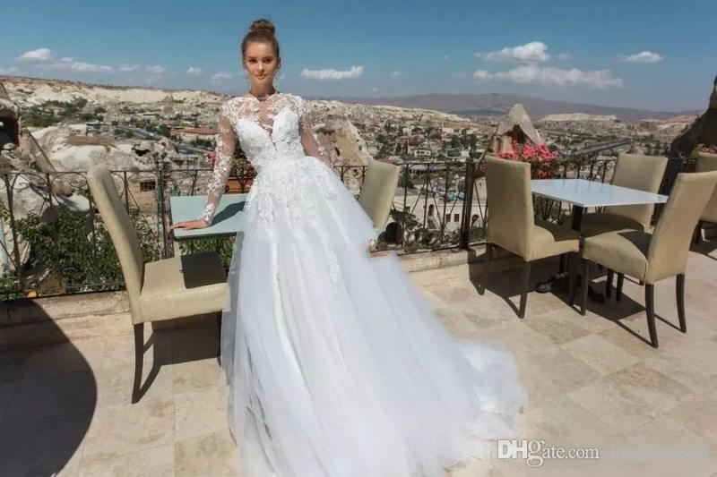 Eva Lendel 2018 Boho Wedding Dresses With Sleeves Simple Lace Applique Sexy Hollow Bridal Gowns Custom Made Floor Length Wedding Dress