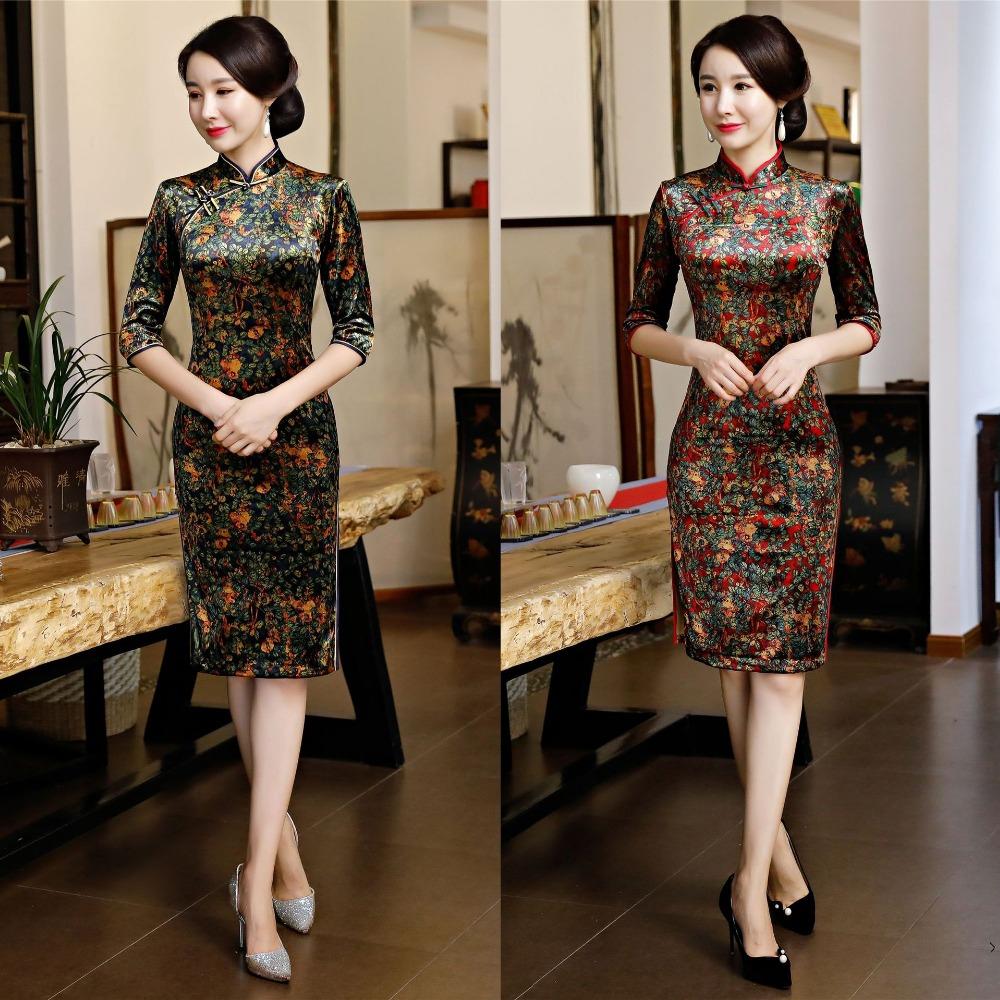 großhandel chinesisches kleid cheongsam kleid qipao moderne robe longue  femme traditionelles kostüm orientalische frauen mode kleidung mädchen  kleider