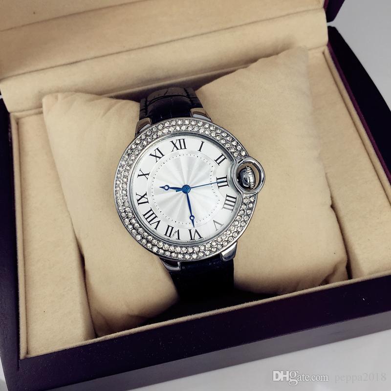 2019 Dropshipping Famous design Luxury Leather Watch for man/women Hot Sale watch With shine Diamond Japan Movement Quartz Clock hot sale