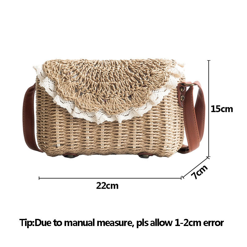 Women Lace Straw Bags INS Popular Female Holiday Handbag Summer Hot Lady Weave Shoulder Bag Travel Beach Casual Bolsa SS3150 (19)