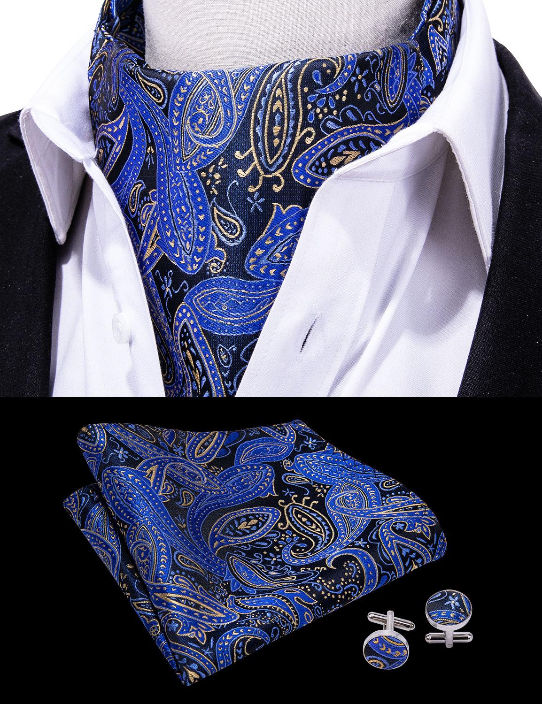 US021 Hommes Bleu Blanc Polka Dot Tie Cravatte Poche Carré Mouchoir Set Lot