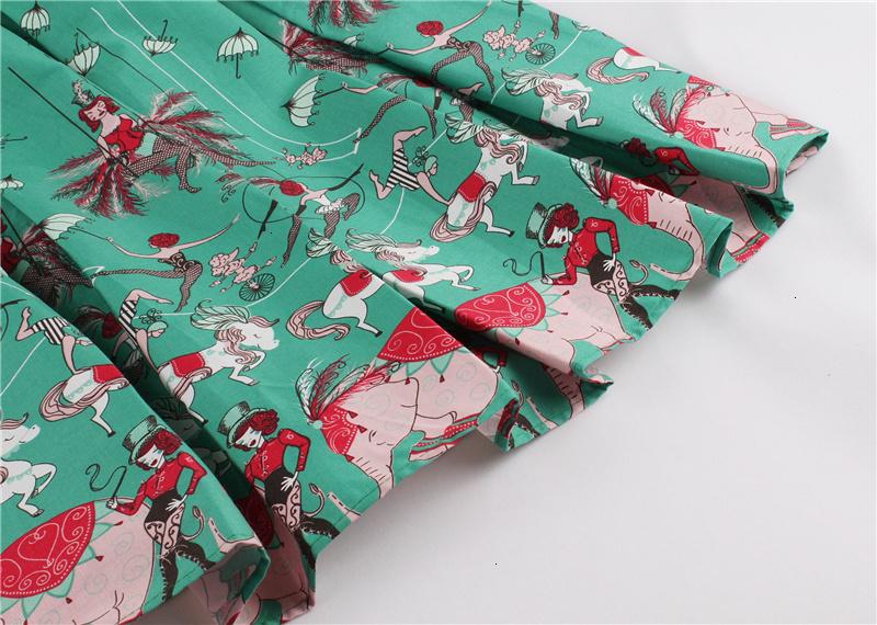 Kostlish Retro Print Flower Summer Skirts Womens High Waist Vintage Skirt Elegant A-Line Midi Women Skirt Plus Size XXL (49)