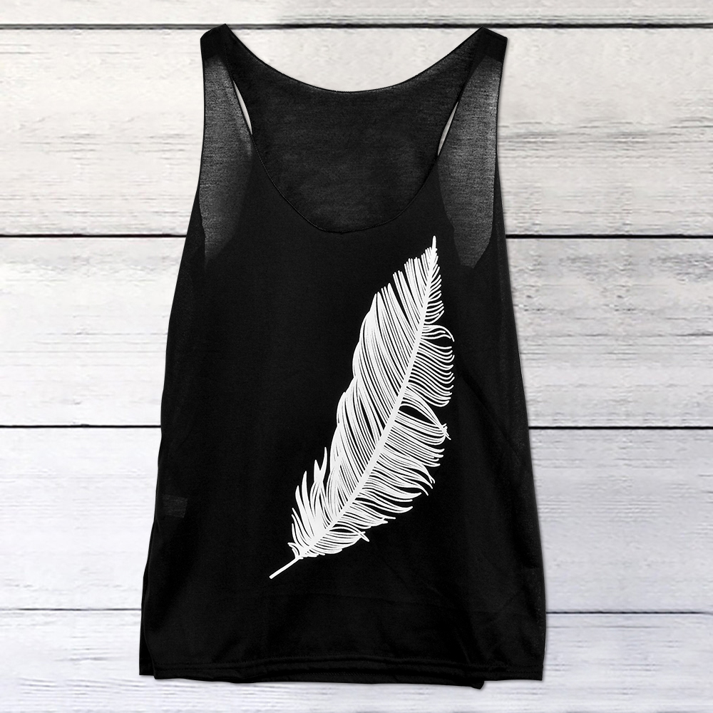 Nice Summer Sexy Feather Printed Tanks&camis Beach Sleeveless Holiday Clothing For Women Female Casual Vests Plus Size 5xl 5xl