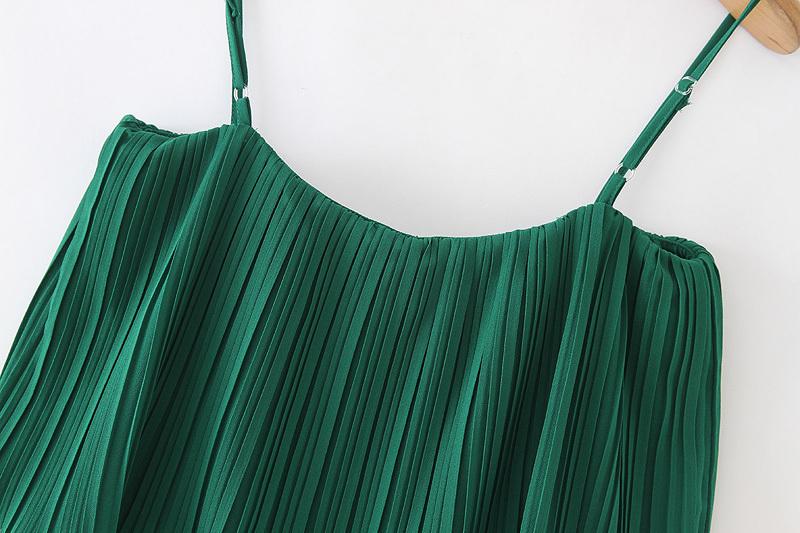 Vadim Women Chiffon Green Pleated Jumpsuits Elastic Waist Ruffles Sleeveless Backless Rompers Female Solid Chic Playsuits Ka615 SH19062601