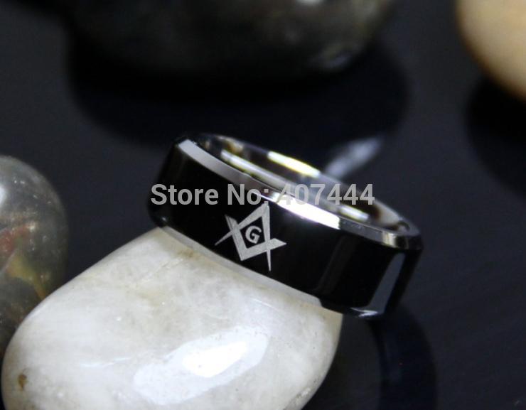 Usa Uk Canada Russia Brazil Hot Sales 8mm Black Top Silver Beveled Men's Masonic Freemason Stainless Steel Rings J190715