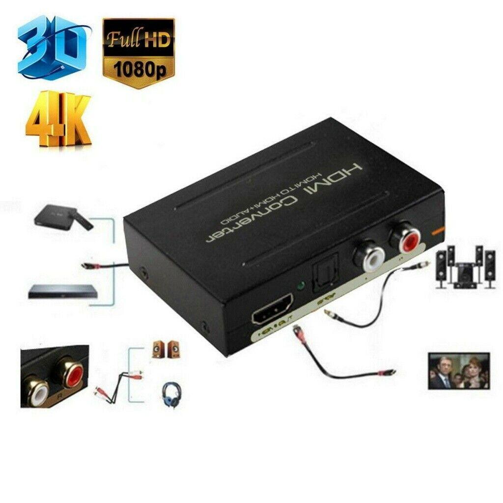 SPDIF HD 1080P HDMI zu HDMI Optical RCA L//R Extractor Converter Audio Splitter