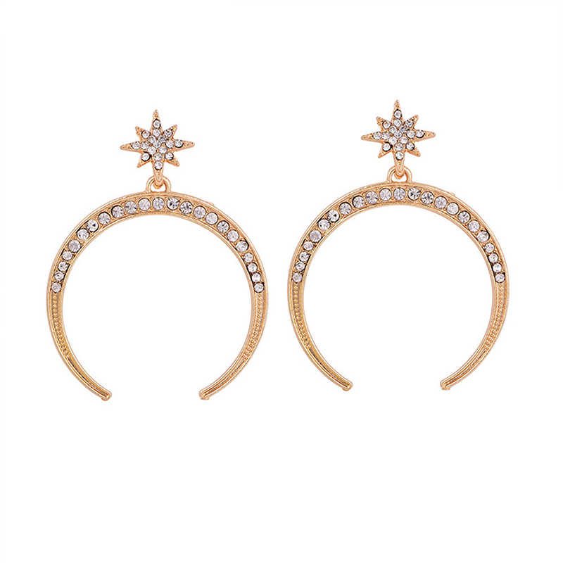 Women's Fashion Retro Moon Star Gem Earrings Simple Pendant Gold Earrings Lady Party Costume Jewelry Accessories