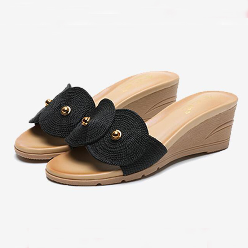 Summer Womens Slippers Thick-Soled Wedge Sandals Lace-Uo Outdoor Shoes High Heel Platform flip Flops for Ladies