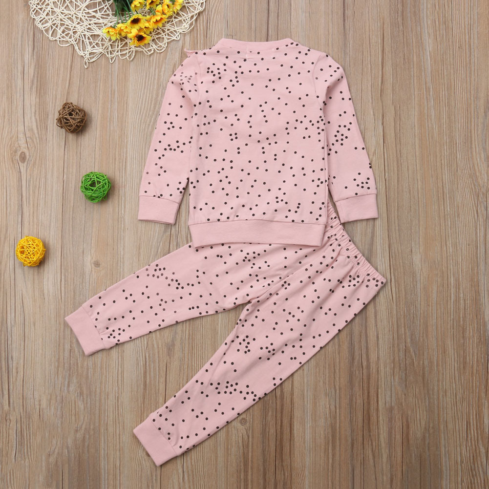Toddler Kids Baby Girl Ruffle Polka Dot Long Sleeve Tops Pants Leggings Outfits Clothes Set