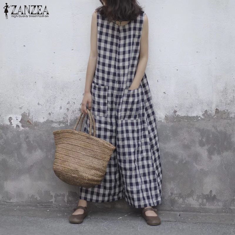Zanzea 2019 Summer Wide Leg Rompers Women Vintage Plaid Checked Sleeveless Loose Jumpsuits Pants Casual Baggy Overalls Plus Size Y19060501