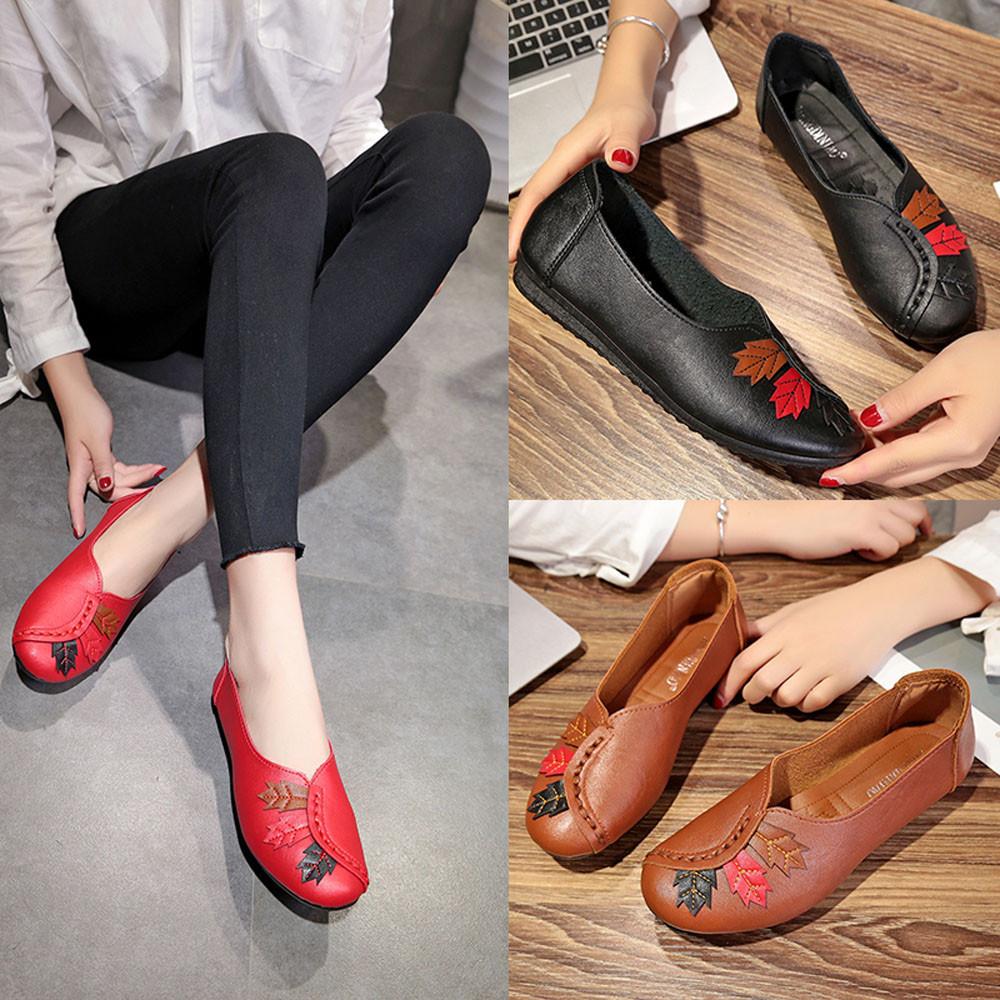 Designer de Sapatos Casuais Moda Feminina Moda Folhas Rodada Cabeça Casual Macio Do Fundo do Barco De Ervilha Senhoras Zapatillas Mujer Verano Zapatos Zapato # 7