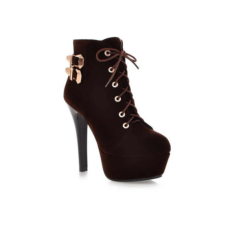Womens Winter Fashion Faux Suede Lace Up High Heels Ankle Boots for Women Platform Boots Shoes Large Size Red Black Brown