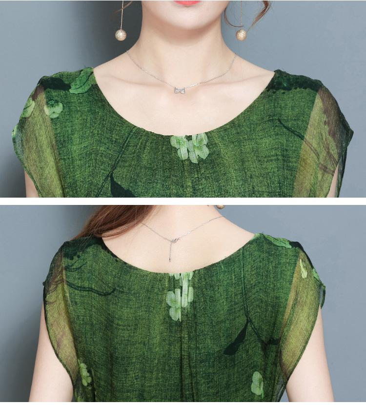 Primavera verano verde vintage estampado floral vestidos mujeres o-cuello manga corta vestido de seda con fajas a media pierna vestidos tamaño grande 4xl q190402