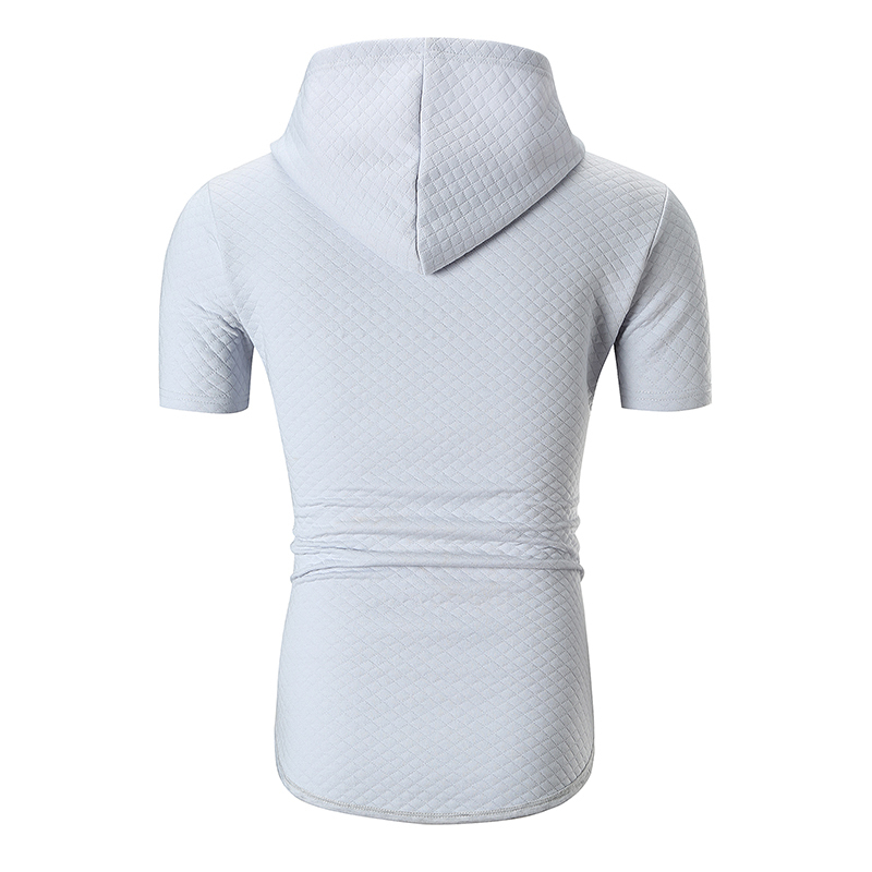 Male 2019 Hot Sale Short Sleeve Solid Color T Shirt O-neck Slim Men T-shirt Tops Small Grid Fashion Mens Tee Shirt T Shirts