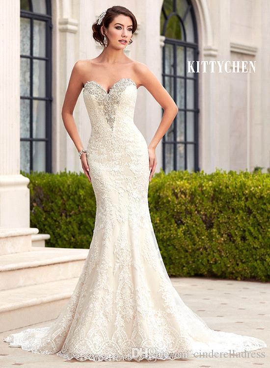 2018 Gorgeous Sweetheart Mermaid lace Wedding Dresses Crystal Rhinestones Backless Custom Made Bridal Gowns BA1689