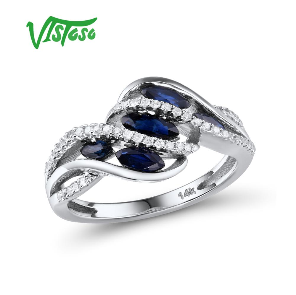 9x7mm Royal Blue Natural Sapphire Ring avec blanc topaze en argent 925
