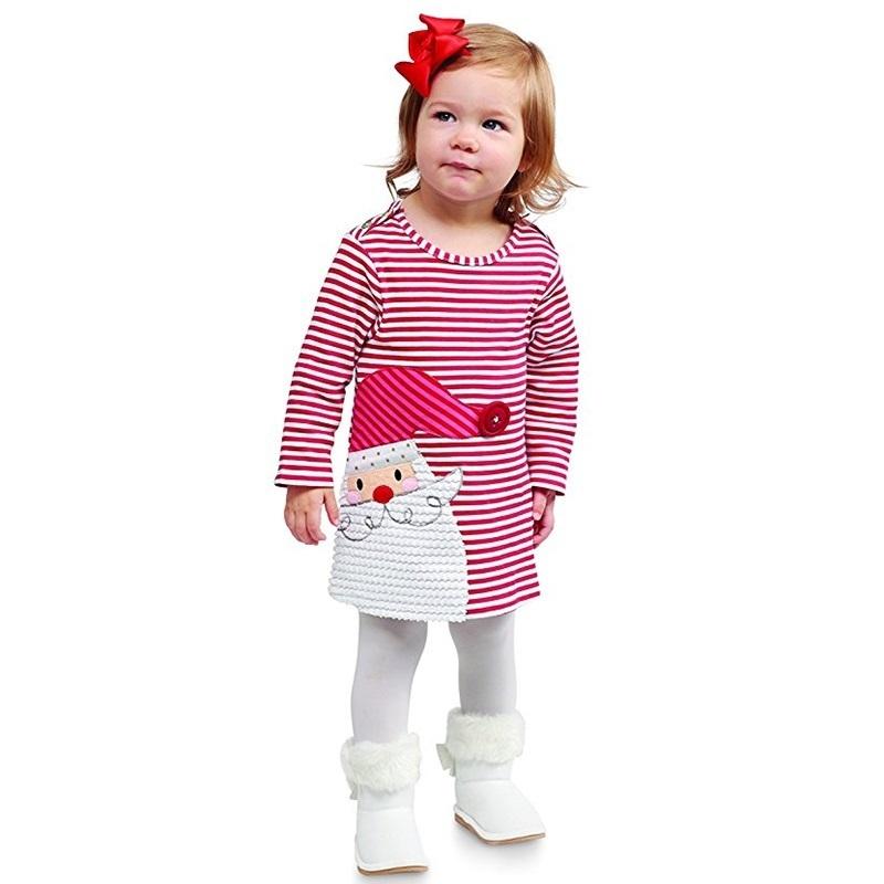 cute baby girl clothing 2018 Christmas costume children o-neck cartoon dress for 1-5 years kid girl stripe dress red
