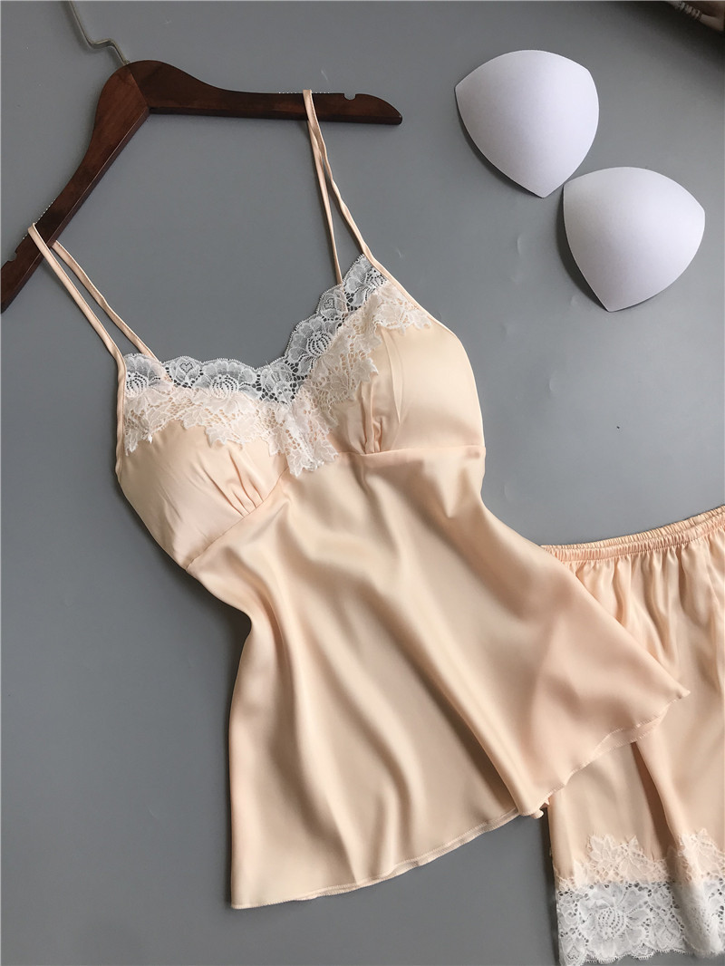 Queenral Pajama Sets For Women Summer Silk Satin Pijama Lingerie Sexy Pyjamas Women Nightie With Chest Pad Femme Pajama Shorts 14