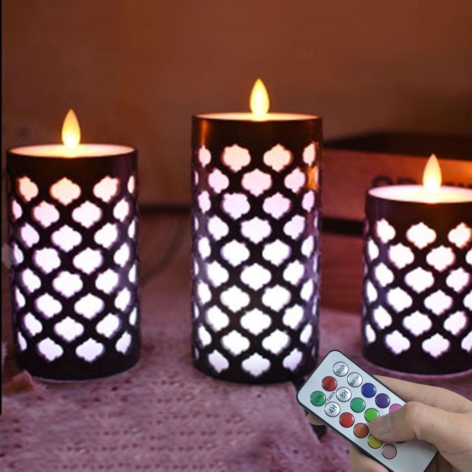 Candles Led RGB Remote Control Dancing Flames Wax Pillar Lights Room Decorations
