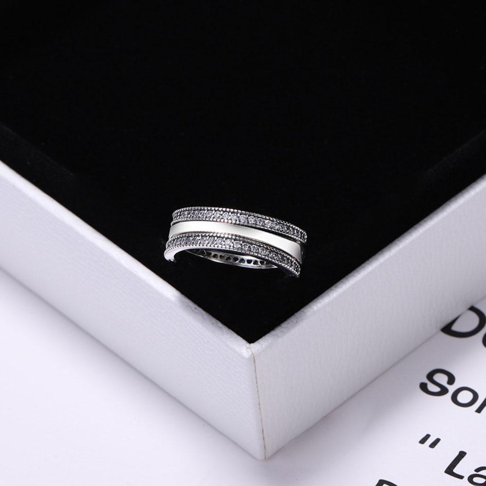 Moda original PAN plata esterlina 925 anillo giratorio circón CZ para mujeres encanto DIY joyería