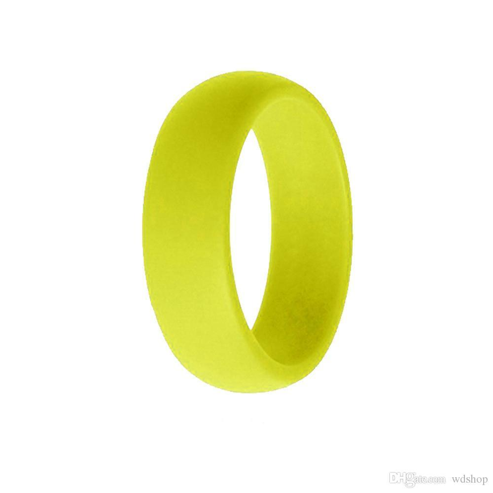 Rainbow Candy Color Hypoallergenic Flexible Food Grade FDA Silicone Finger Ring For Couple Wedding Ring Hip-Hop Jewelry