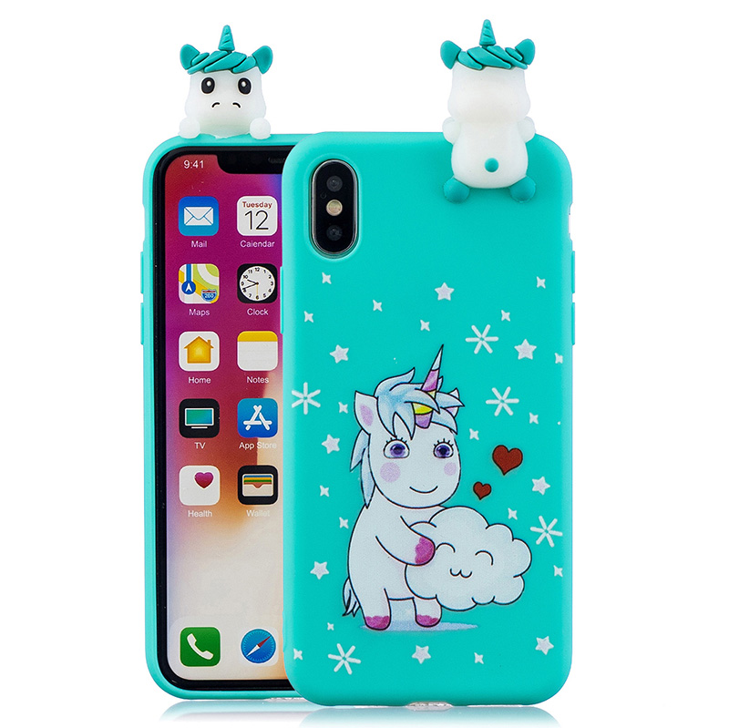 3d cute unicorn cat case for iPhone X