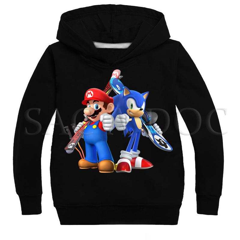 Super Mario Sonic dos desenhos animados Crianças Hoodies Meninos Meninas Moda Camisola Outono Inverno Pulôver Ocasional Com Capuz Crianças Melhor Presente J190523