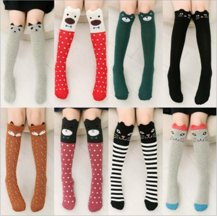 Toddler Girls Boys Kid Animals Stripes Socks Soft Cozy Cotton Knee High Hosiery