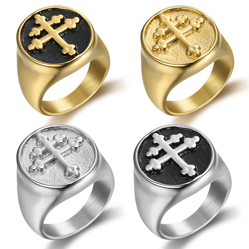 Lorraine Cross Ring Gold Silver Titanium Stainless Steel Crux Vera Cross of Lorraine Rings for Men Jewelry wholesale (1)