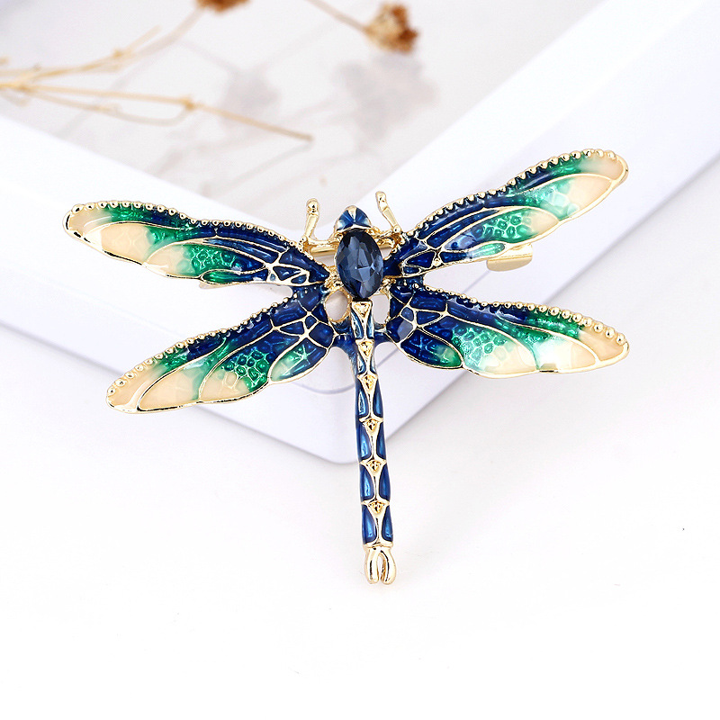 XIHA Oval Crystal Rhinestone Dragonfly Brooch Dress Suit Insect Broches Vintage Brooches for Women Green Enamel Pin Dropshipping (2)