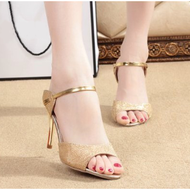 Tino Kino Summer Women Peep Toe Pumps Thin High Heel Sandals Female Sexy Gold Silver Bling Stiletto Party Dress Shoes Ladies