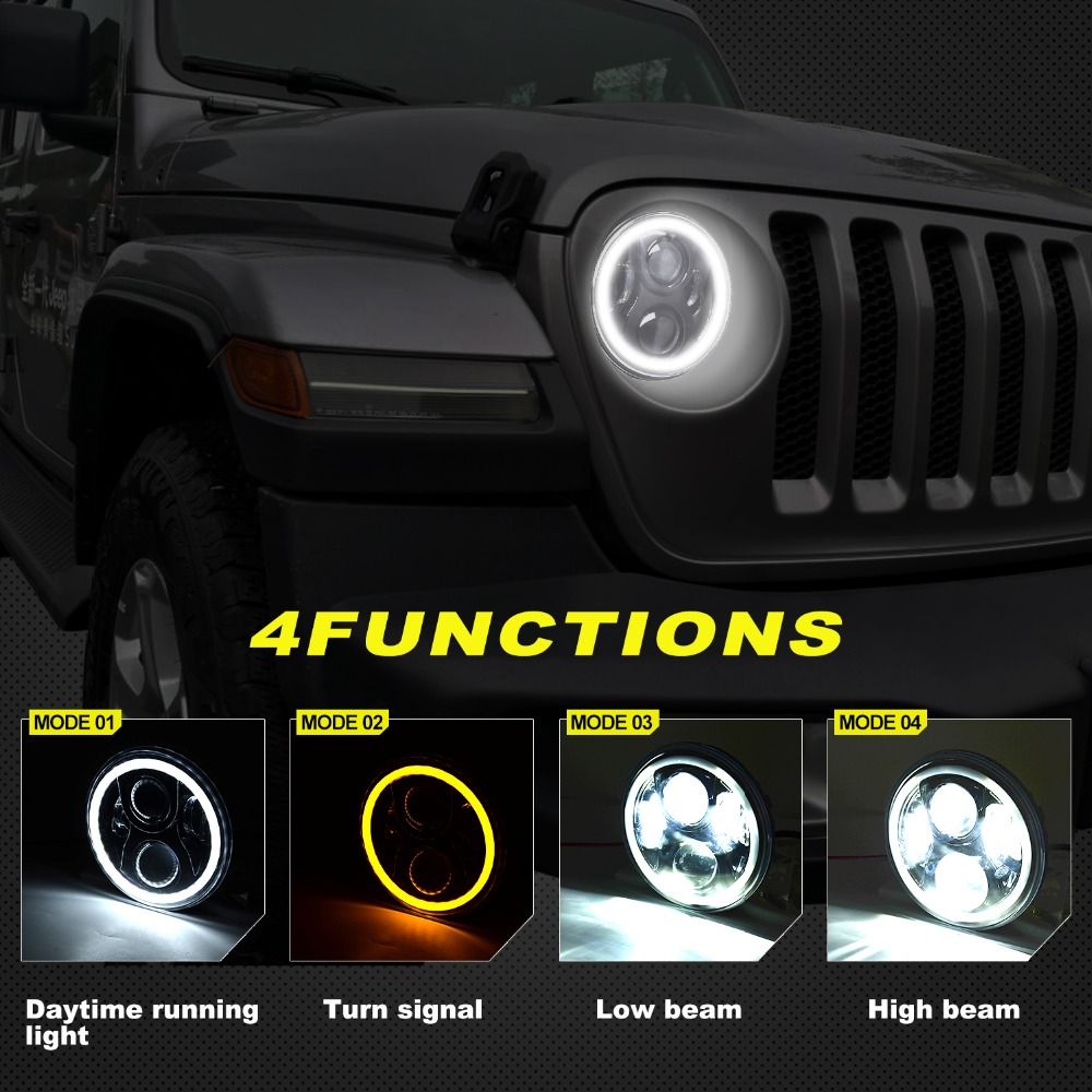wholesale 60W 7inch Round Led Headlight High Low Beam Light Halo Angle Eyes DRL Headlamp For Off Road 4x4 Motorcycle