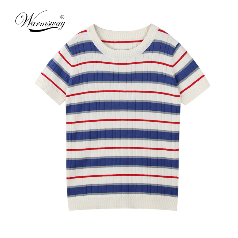 2018 Preppy Style Striped T-shirt Brand High Quality Classic Bottom T-shirts For Women Colorful T Shirt Female Top Tee B-058