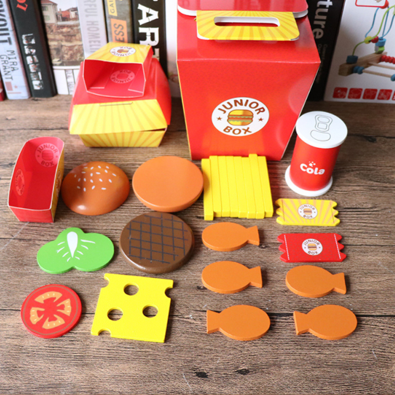 Simulation Hamburger French Fries Pretend Play Assembled Food Education Toy HB