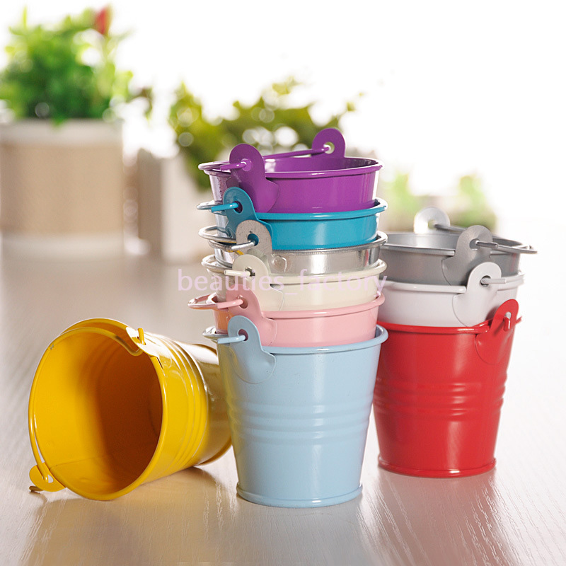 Cute Mini Tin Metal Pails Bucket Wedding Candy Favors Birthday Favour Party Decor 8cm Multi colors