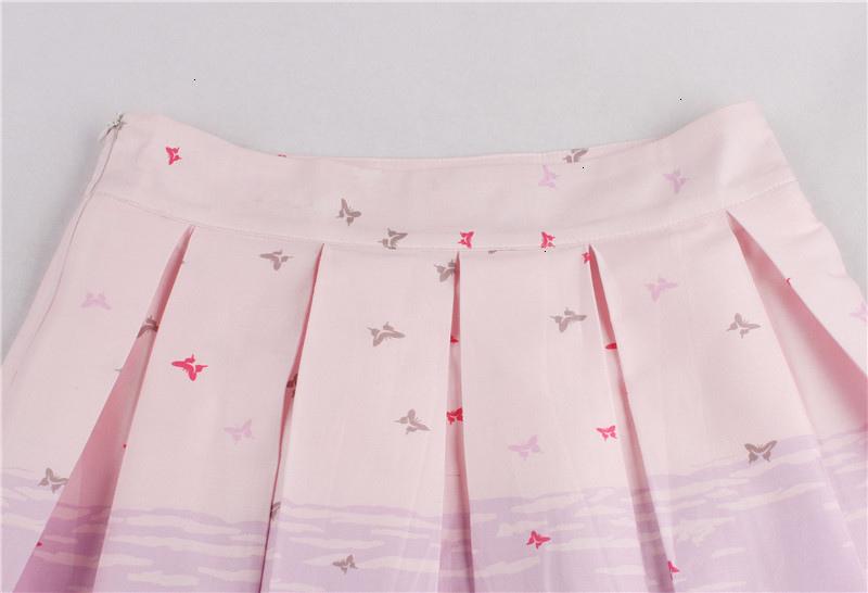 Kostlish Retro Print Flower Summer Skirts Womens High Waist Vintage Skirt Elegant A-Line Midi Women Skirt Plus Size XXL 22 (23)