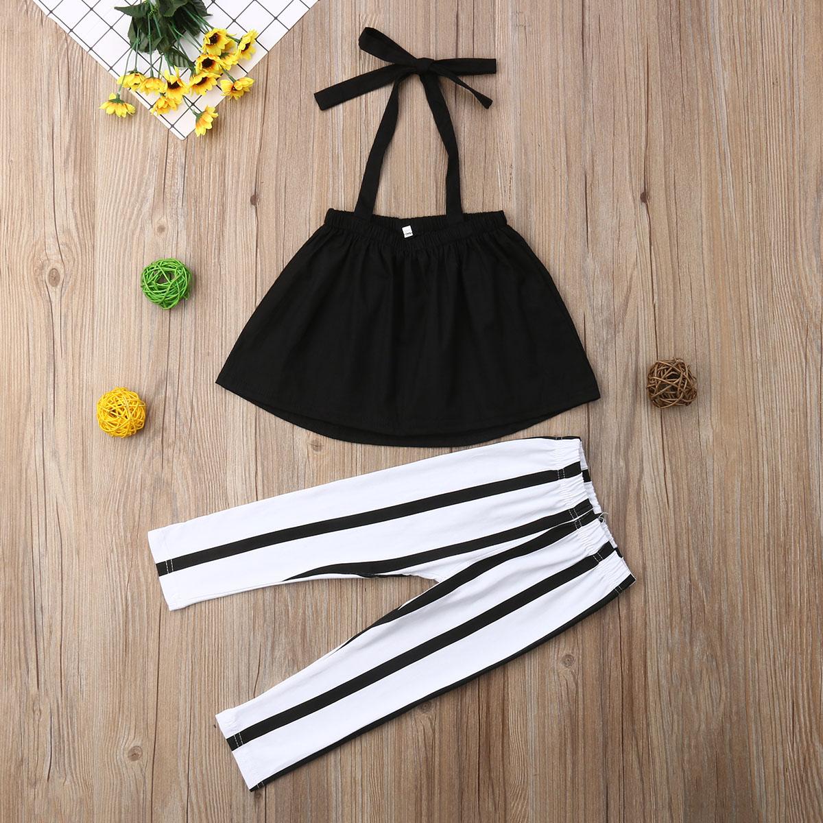 2019 Yaz Kızlar Giyim Setleri Çocuk giyim Moda Kız Gömlek Siyah Üst + Çizgili Pantolon Takım Elbise 2019 Çocuk Giyim 2 adet