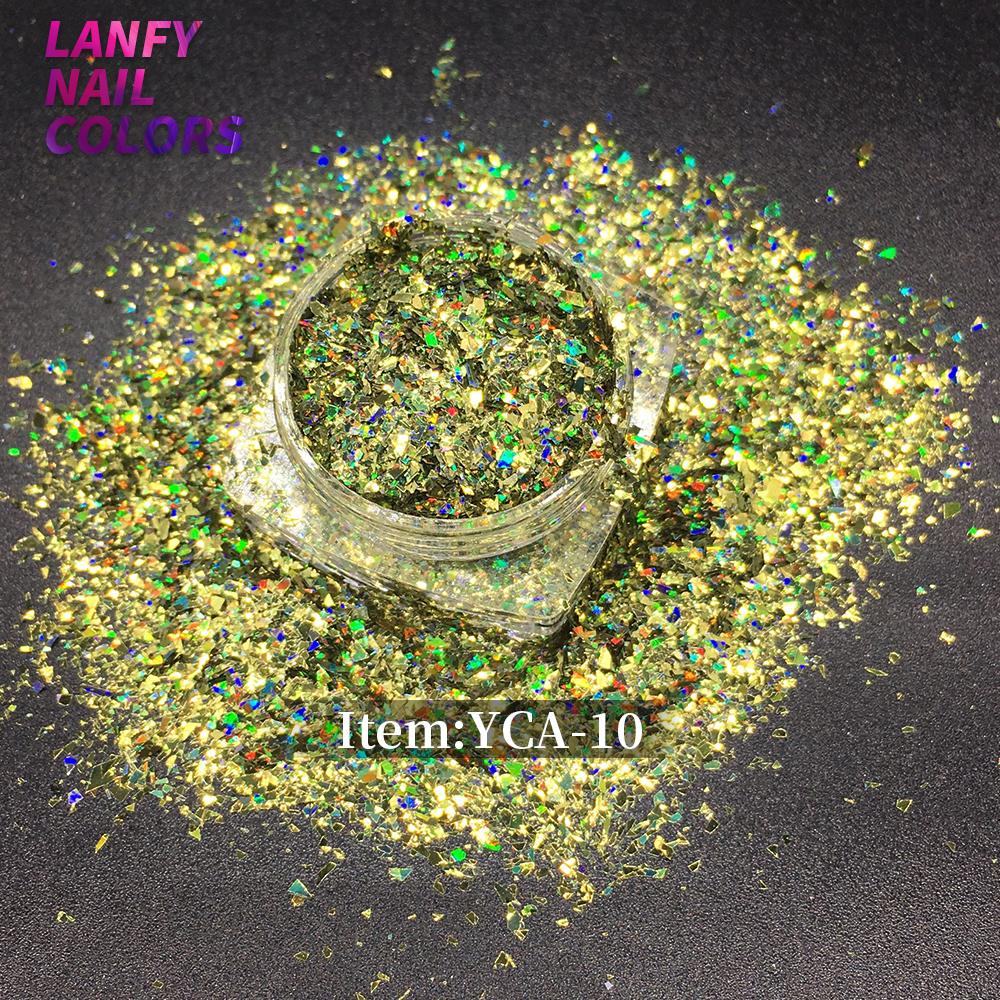 YCA-06 Лазерная Радуга Nail Art Блеск Блестки Листовая Пудра Diamond Holo Flake Красочный Блеск | Голографические хлопья для ногтей