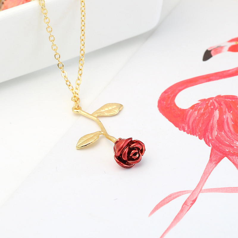 Moda Rosa Roja Colgante Collar Mujer Joyería Gargantilla Collar Cadena Mujer Collier Femme Boho Collares Collar Oro Mujeres Regalos