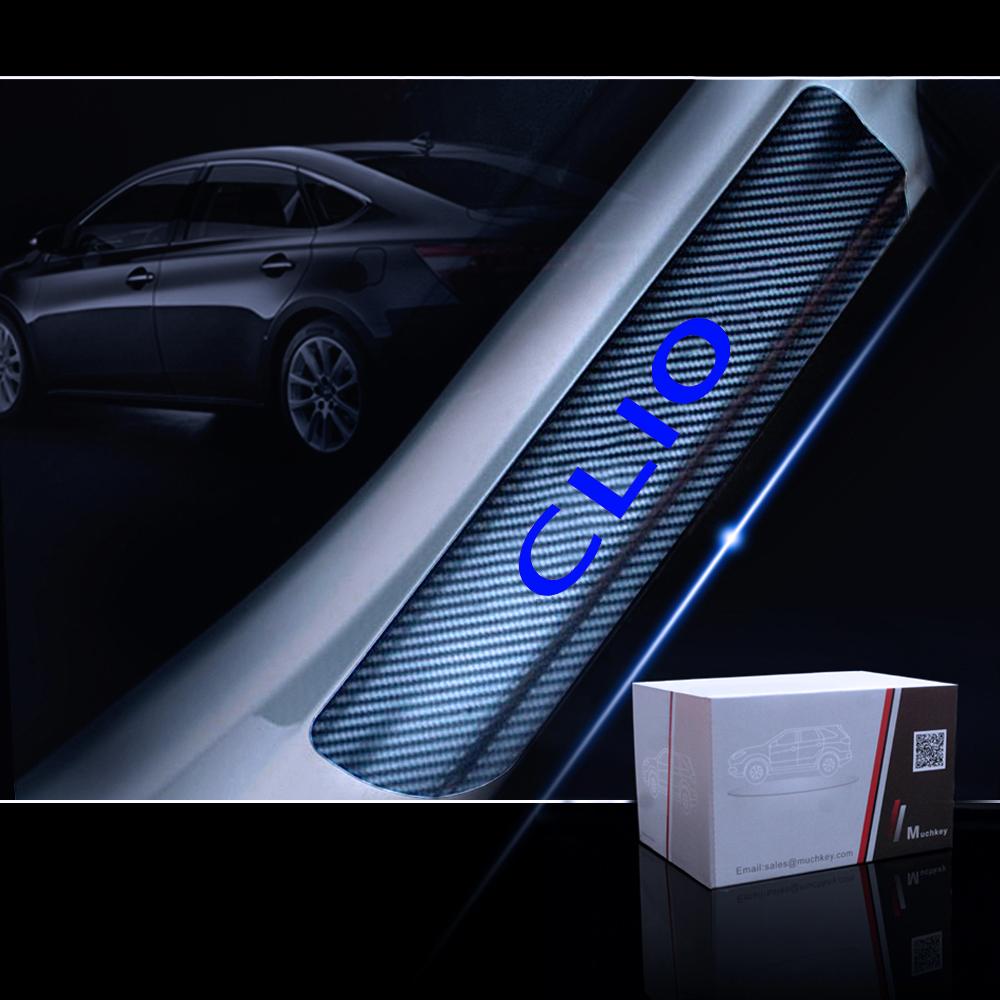 Fibra De carbono Vinil Adesivo Para Renault CLIO Protetor de Peitoril Da Porta Do Carro Scuff Placa Limite Da Porta Placa Adesivos Acessórios Do Carro