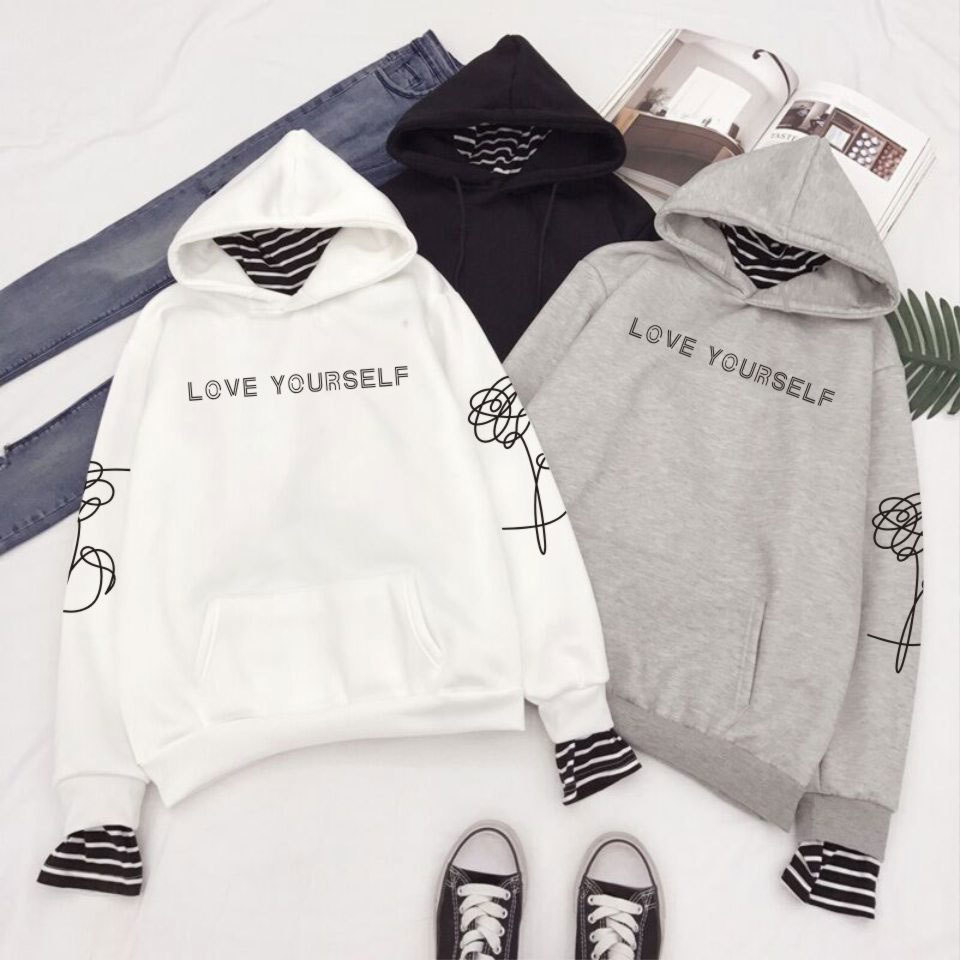 Love Yourself Sweatshirts Striped Patchwork Hoodies Pullovers Women Winter Clothes
