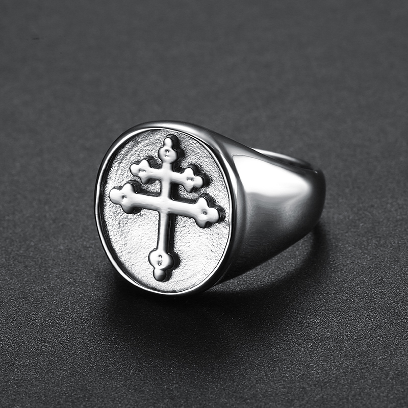 Lorraine Cross Ring Gold Silver Titanium Stainless Steel Crux Vera Cross of Lorraine Rings for Men Jewelry wholesale (4)