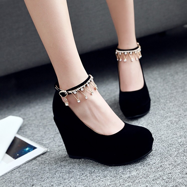 Sexy2019 Cashmere Shallow Mouth Single Spring Shoe Waterproof Platform Slope With High-heeled Shoes F392