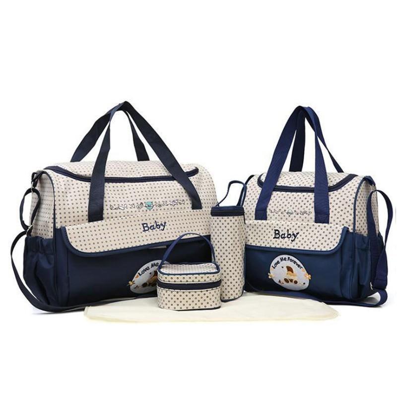 CROAL CHERIE 381830cm5pcs Baby Diaper Bag Sets changing Nappy Bag For Mom Multifunction Stroller Tote Bag Organizer (11)