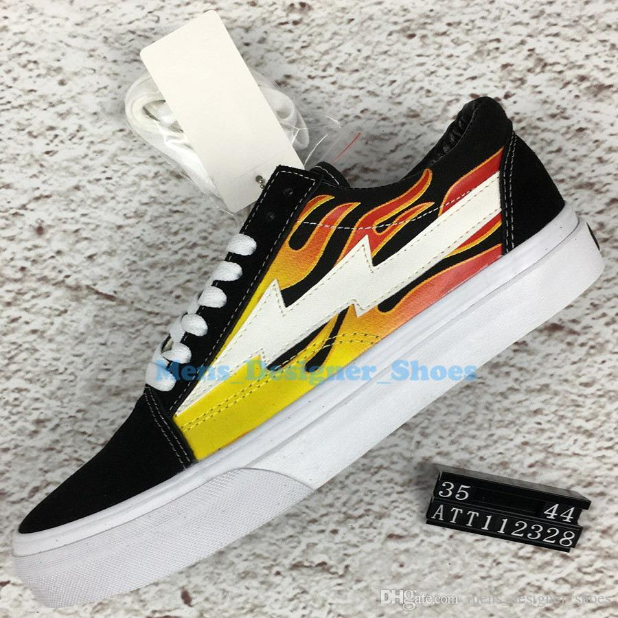 2019 Revenge X Storm Kanye Old Skool Casual Shoes Sneakers Teal Black Flame The Boogie Slip-On Light Weight Skateboarding Shoes Canvas 35-44