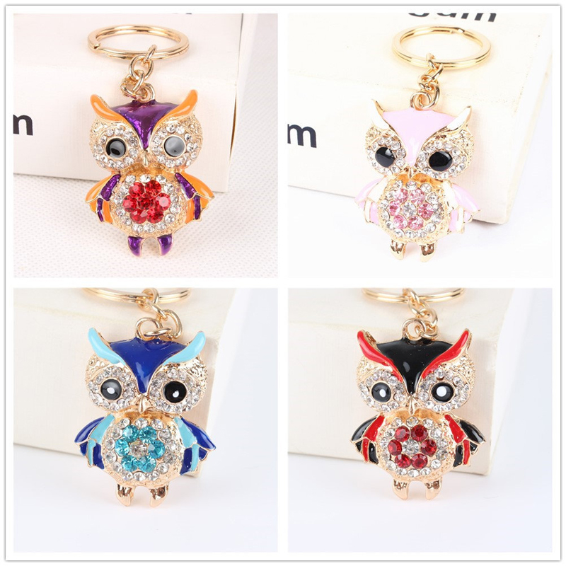 USA KEY CHAIN LARGE Rhinestone Crystal ring owl bird RED SILVER bling cute LARGE