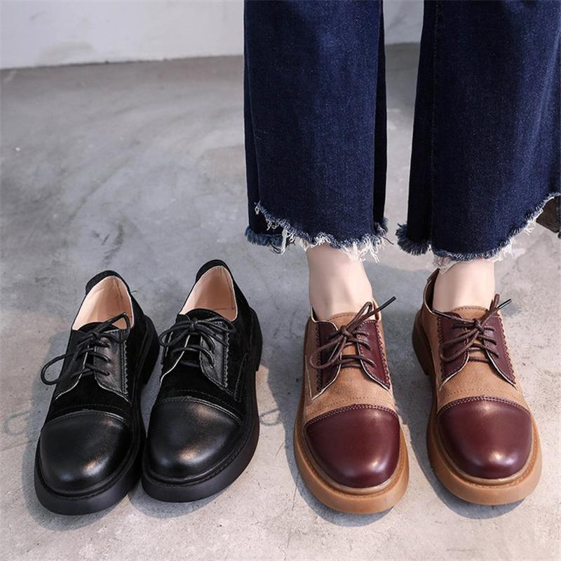 Atacado Nova Moda Misturado Cores Largas Med Saltos Lace Up Toe Sapatos Redondos Mulher Casuais Primavera Outono Bombas Preto Tamanho 35-40