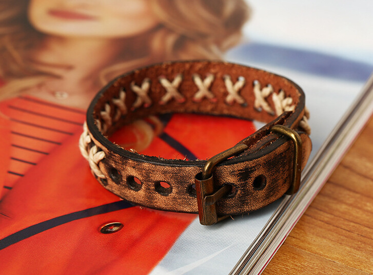 Cowhide New Pattern Ornaments Fashion Genuine Leather European Foreign Trade Weave Restore Ancient Ways Bracelet