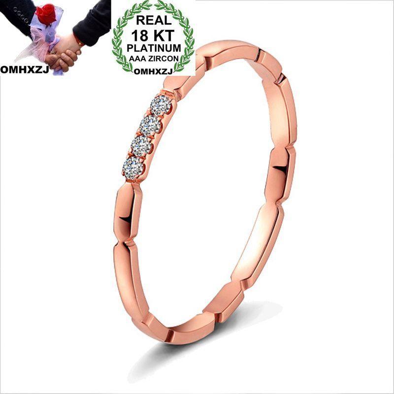 OMHXZJ Personalità All'ingrosso Fashion Woman Girl Party Regalo di nozze in oro rosa sottile Zircone 18KT Anello in oro rosa RN44