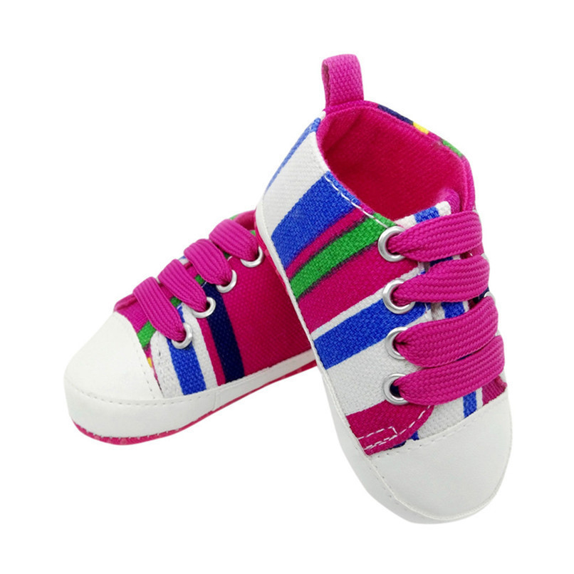 1 Pair Baby Shoes Newborn Infant Baby Boys Girls Stripe Soft Sole Anti-slip Canvas Shoes Baby First Walkers toddler shoes D4 (2)